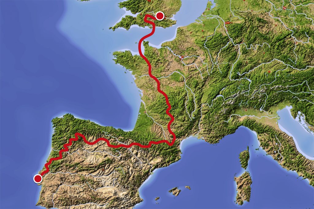 London to Lisbon 2017 map